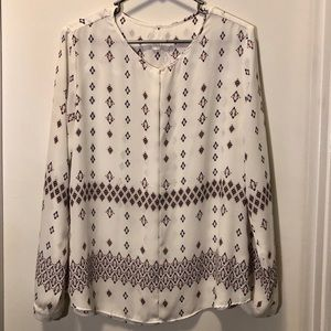GAP white blouse with blue & pink pattern